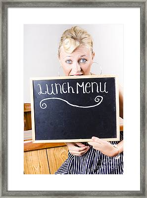 Hungry Woman Eating A Cafe Lunch Menu Framed Print by Jorgo Photography - Wall Art Gallery
