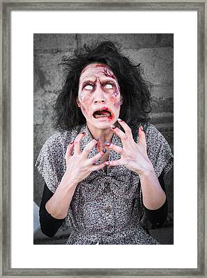 Hungry Zombie Woman Framed Print