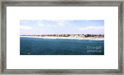 Hunington Beach Panorama - Digital Painting Framed Print