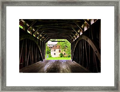 Hunsecker's Mill Covered Bridge Framed Print by Lisa Wooten
