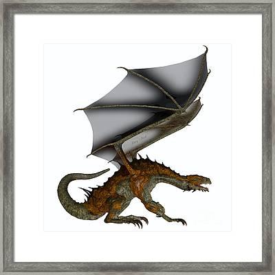 Hunter Dragon Profile Framed Print by Corey Ford