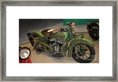 Hunter Green Indian Motorcycle...   # Framed Print by Rob Luzier