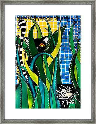 Hunter In Camouflage - Cat Art By Dora Hathazi Mendes Framed Print by Dora Hathazi Mendes