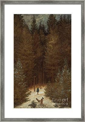 Hunter In The Forest  Framed Print by Caspar David Friedrich