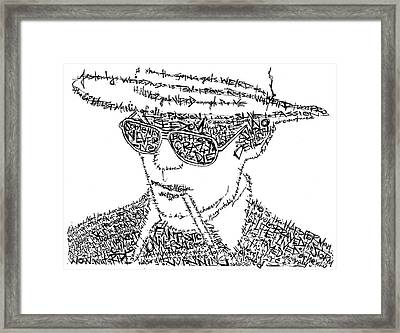 Hunter S. Thompson Black And White Word Portrait Framed Print