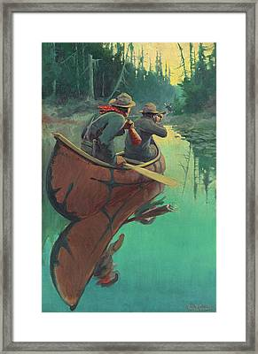 Hunters In A Canoe Framed Print by Philip R Goodwin