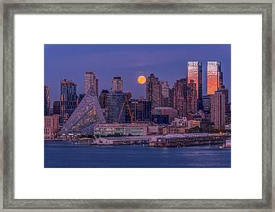 Hunter's Moon Over Ny Framed Print