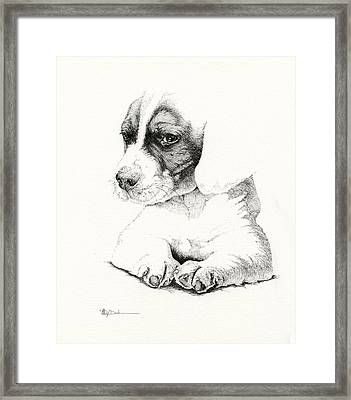 Hunters Pup_pen Drawing Framed Print