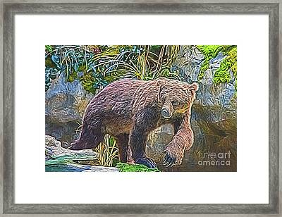 Framed Print featuring the digital art Hunting Bear by Ray Shiu