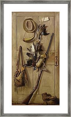 Hunting Cabin Door Framed Print