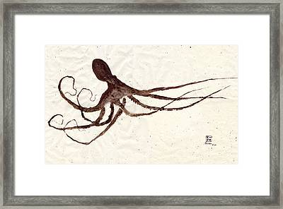 Hunting Octopus Gyotaku Framed Print by Odessa Kelley