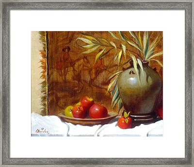Hunting Tapestry With Chinese Vase And Apples Framed Print by David Olander