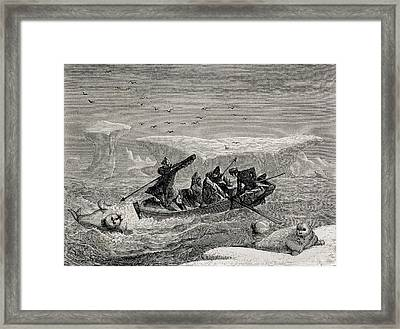 Hunting Walrus With Harpoons In The Framed Print