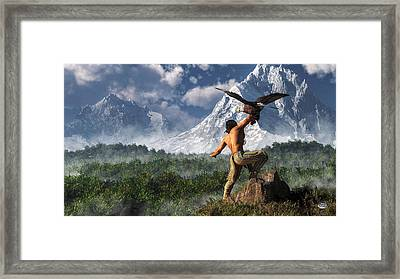 Hunting With An Eagle Framed Print