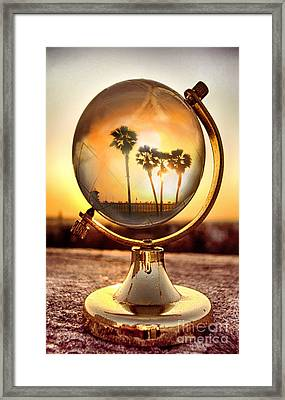 Huntington Beach Globe Framed Print by Natalie Ortiz