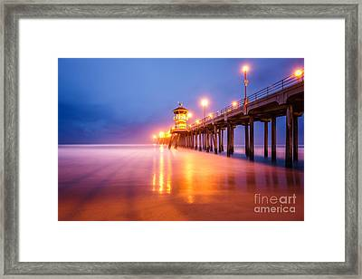 Huntington Beach Pier At Sunrise Framed Print by Paul Velgos