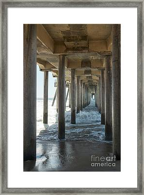 Framed Print featuring the photograph Huntington Beach Pier From Below by Ana V Ramirez