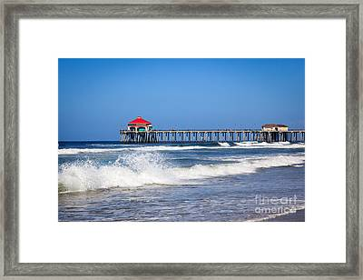 Huntington Beach Pier Photo Framed Print by Paul Velgos