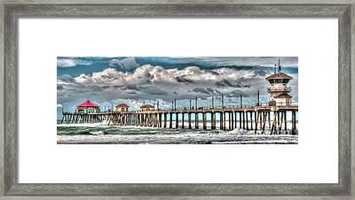 Framed Print featuring the photograph Huntington Beach Winter 2017 by Jim Carrell