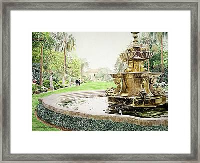Huntington Fountain Morning Mist Framed Print by David Lloyd Glover