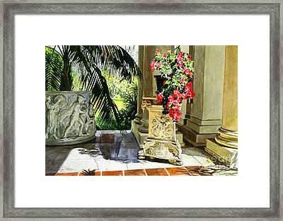 Huntington Loggia Framed Print by David Lloyd Glover