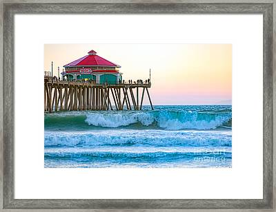 Framed Print featuring the photograph Huntington Pier by Anthony Baatz