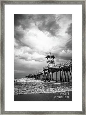 Huntington Pier Storm Clouds Black And White Photo Framed Print by Paul Velgos