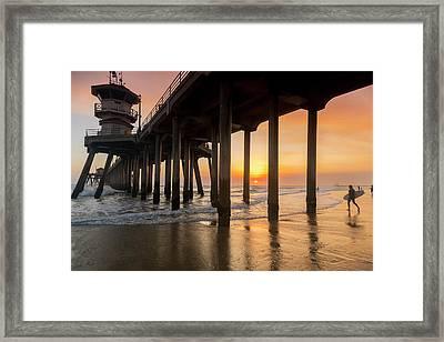 Huntington Sunset Surfer Framed Print
