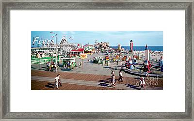 Hunts Pier In The 1960's, Wildwood Nj Sixties Panorama Photograph. Copyright Aladdin Color Inc. Framed Print