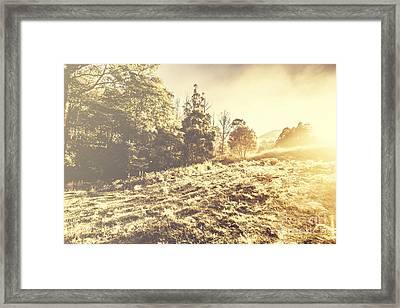 Huon Valley Vintage Landscape Framed Print