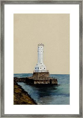 Huron Harbor Lighthouse Framed Print by Michael Vigliotti