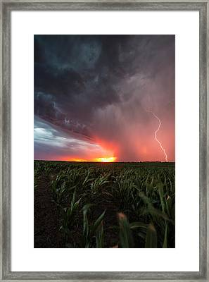 Framed Print featuring the photograph Huron Lightning  by Aaron J Groen