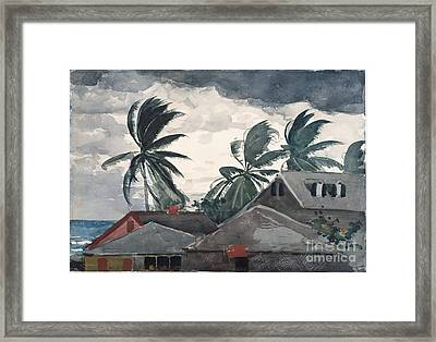 Hurricane In Bahamas Framed Print by Winslow Homer