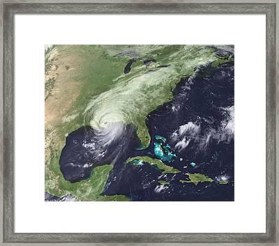 Hurricane Katrina Over Southeast Framed Print by Everett