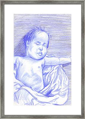 Framed Print featuring the drawing Hush Little Baby by Jean Haynes