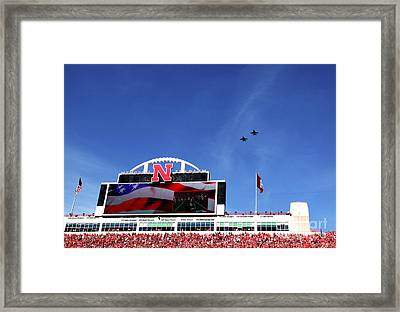 Husker Memorial Stadium Air Force Fly Over Framed Print
