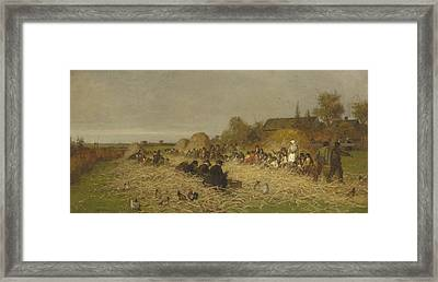 Husking Bee, Island Of Nantucket, 1876 Framed Print by Eastman Johnson