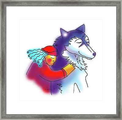 Husky Love Framed Print