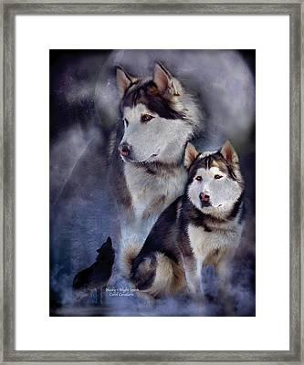 Husky - Night Spirit Framed Print by Carol Cavalaris