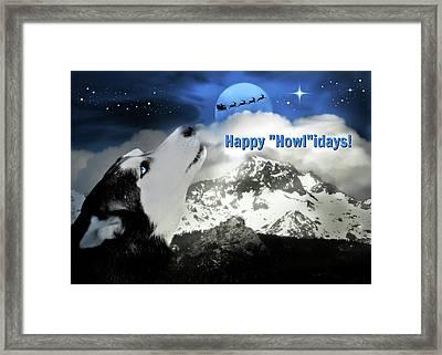 Husky, Santa And Moon Happy Holidays Card Framed Print by Stephanie Laird