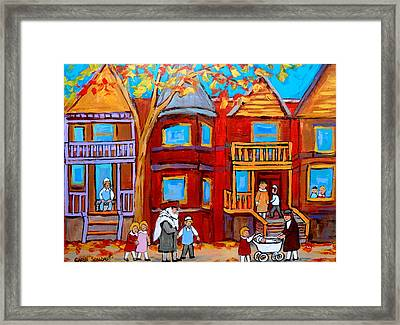 Hutchison Street Sabbath In Montreal Framed Print by Carole Spandau