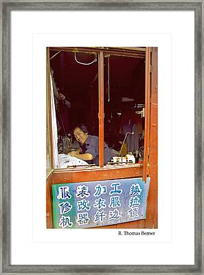 Framed Print featuring the photograph Hutong Tailor by R Thomas Berner