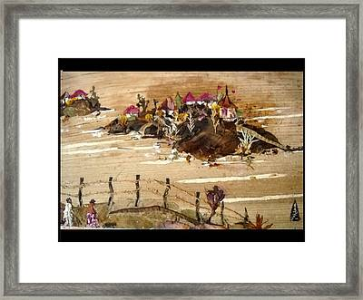 Huts And Temples On Hills Framed Print