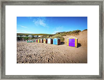 Huts On A Beach Framed Print by Svetlana Sewell