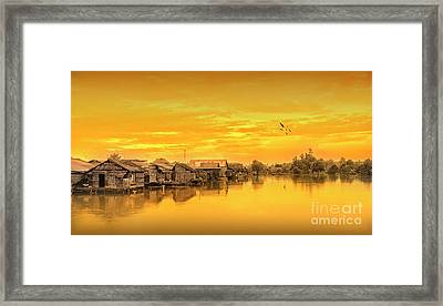 Framed Print featuring the photograph Huts Yellow by Charuhas Images