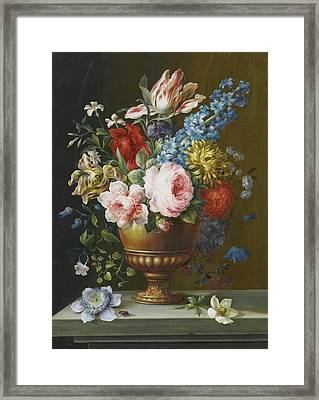 Hyacinth And Parrot Tulips Framed Print
