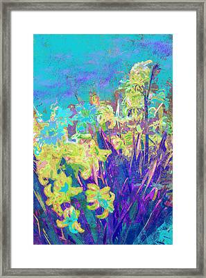 Hyacinths After The Style Of Van Gogh Framed Print by Suzanne Powers