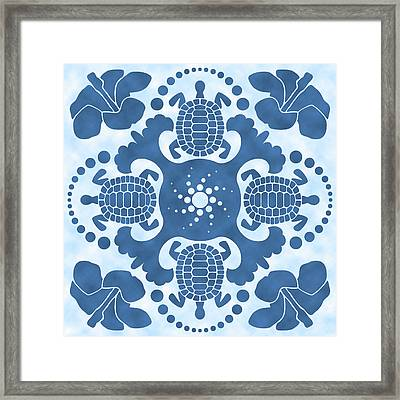 Hybiscus And Turtle Hawaiian Quilt Block Framed Print