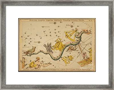 Hydra And Surrounding Constellations Framed Print by Science Source