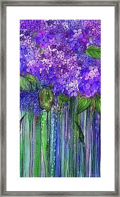 Framed Print featuring the mixed media Hydrangea Bloomies 2 - Purple by Carol Cavalaris